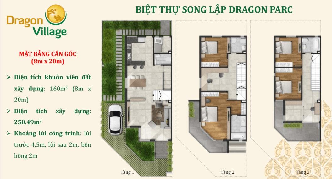 căn góc biệt thự song lập dự án dragon village 8x_20_m