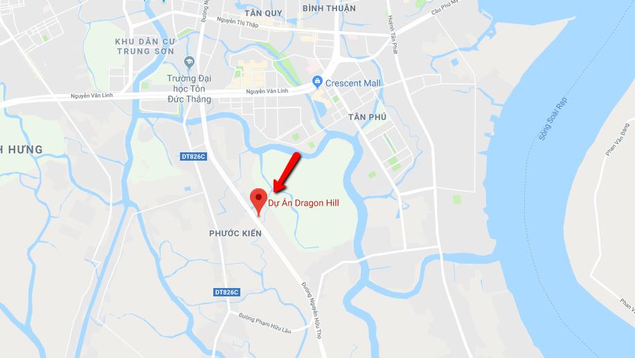 vị trí dự án dragon hill nhà bè trên google map